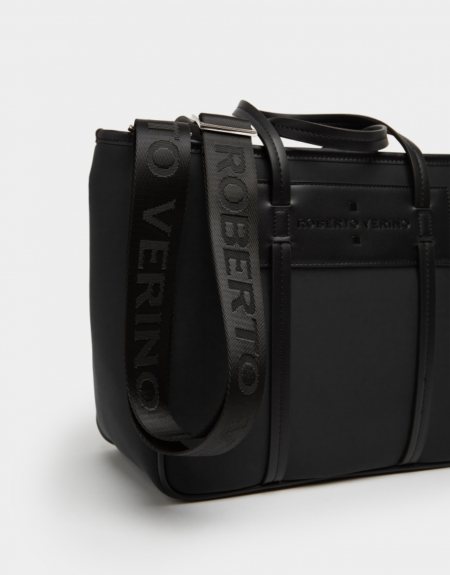 Black neoprene Midi Nora shopping bag