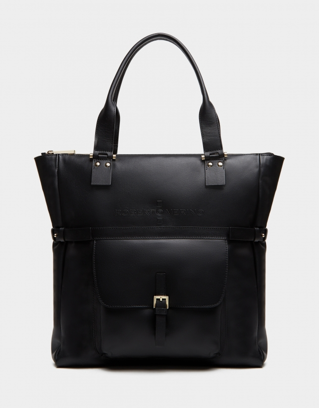 Black leather Charlotte shopping bag