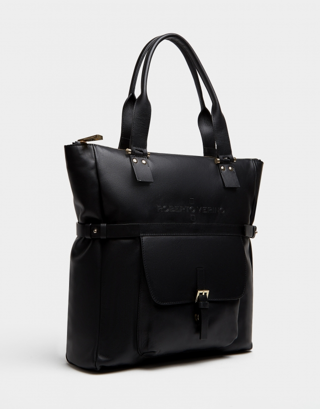 Black leather Charlotte shopping bag