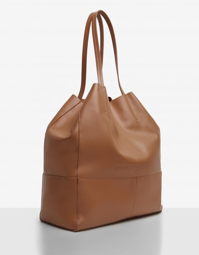 Tan leather Megan shopping bag