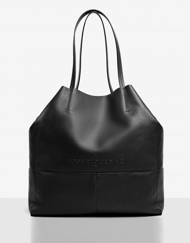 Black leather Megan shopping bag