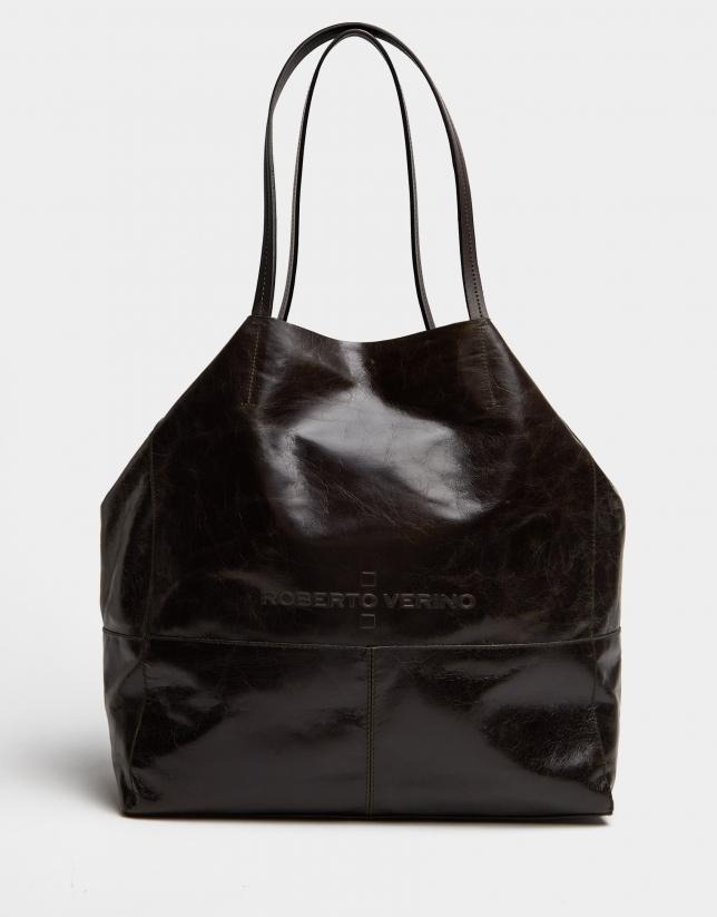 Dark green leather Megan shopping bag