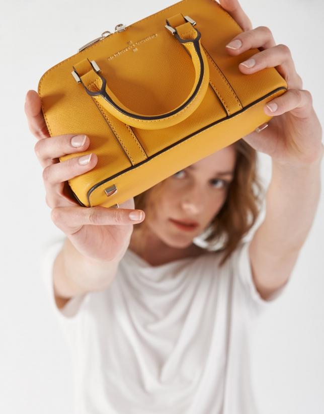 Mustard Saffiano leather Lupita Mini tote bag