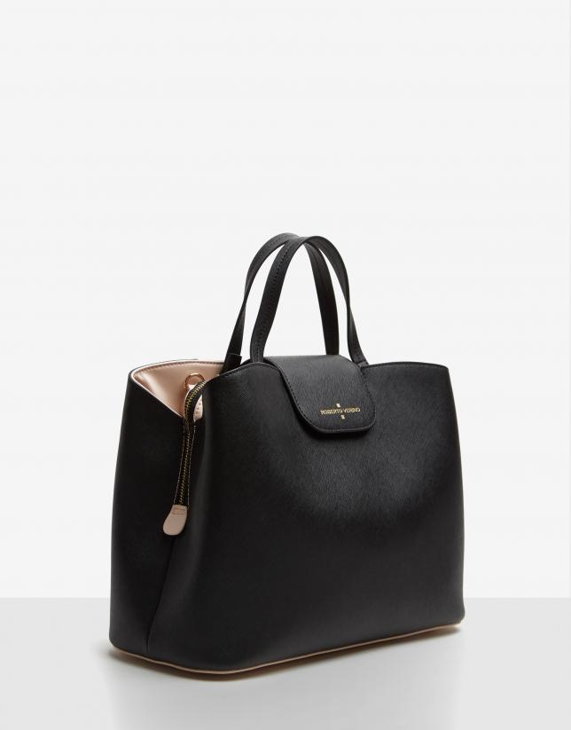 Bolso satchel Ryan Maxi piel saffiano negra