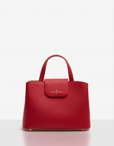 Bolso satchel Ryan Midi piel saffiano roja