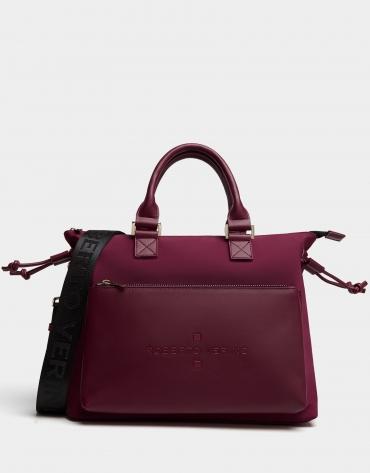 Burgundy nylon Simoneta Midi handbag