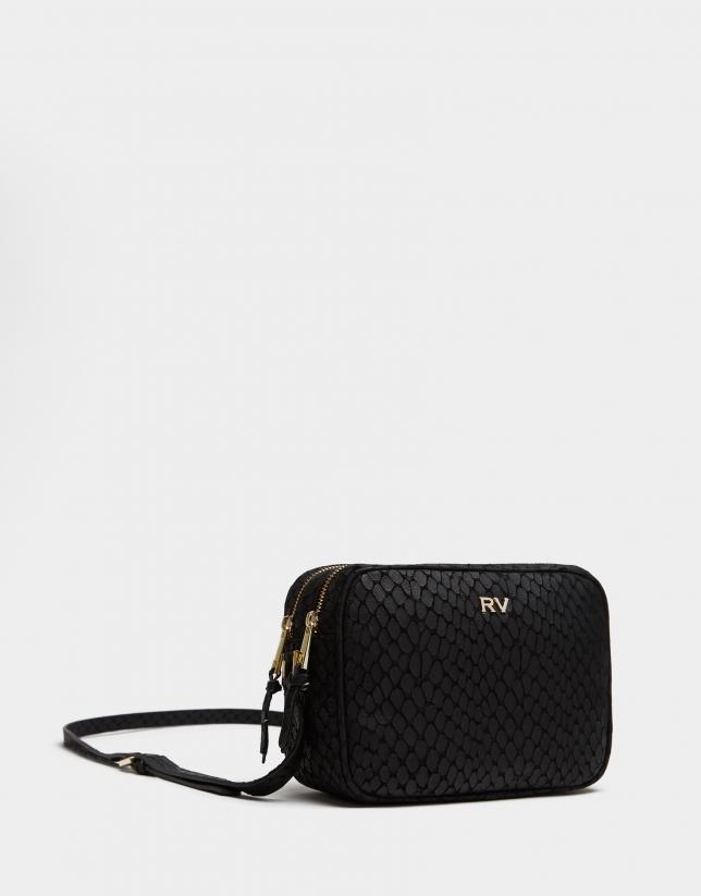 Black stain embossed leather Taylor shoulder bag