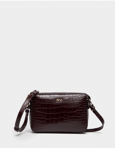Poppy embossed alligator Trèsse shoulder bag