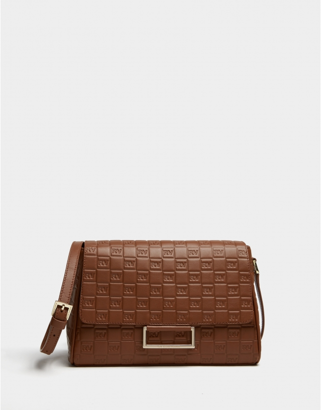 Brown Bonjour Cross leather bag with logos