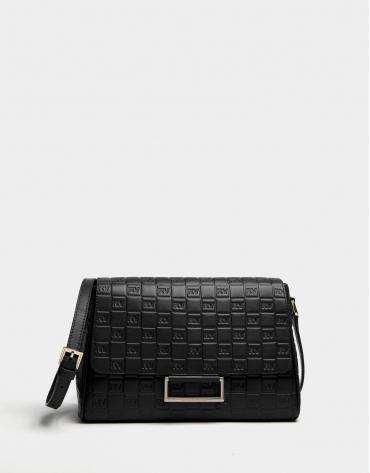 Black Bonjour Cross leather bag with logos