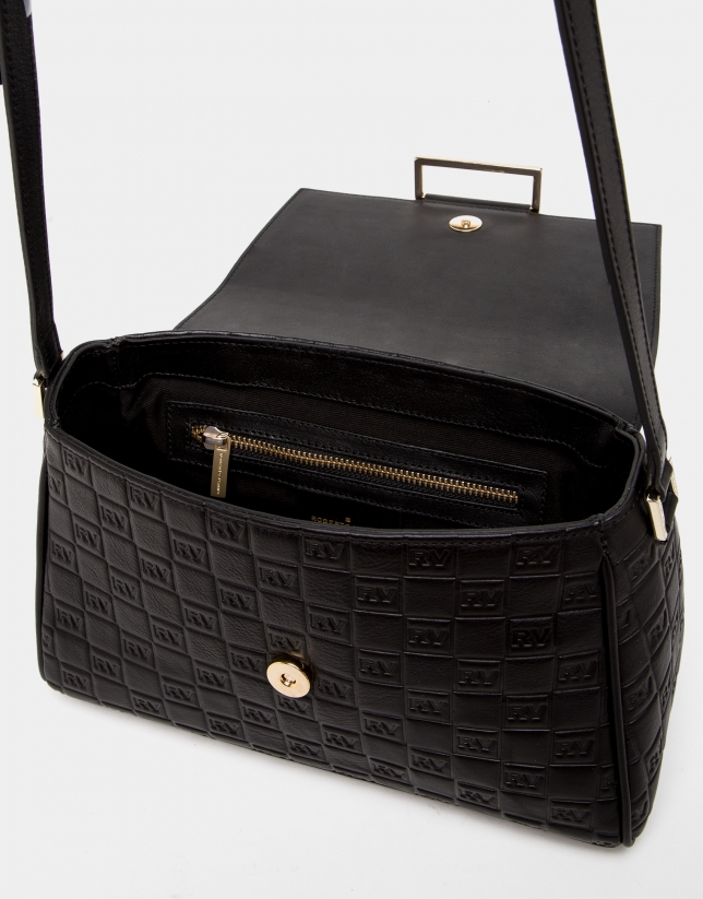 Black Bonjour Cross leather bag with logos