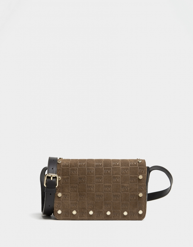 Brown suede mini shoulder bag with logos