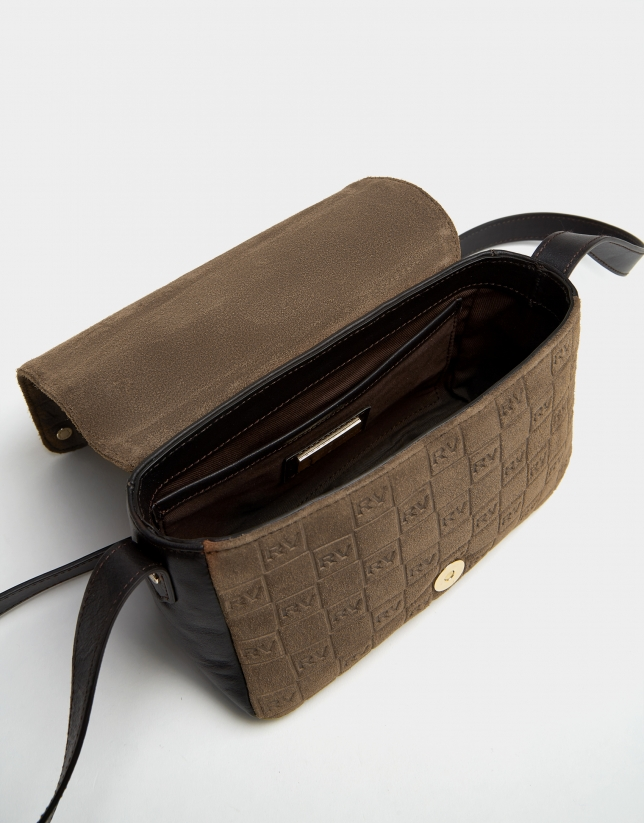 Brown suede mini shoulder bag with logos