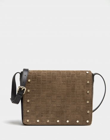 Brown suede/leather midi shoulder bag with logos