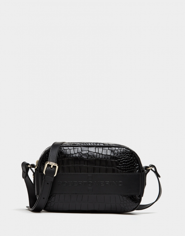 Black alligator embossed Neox shoulder bag