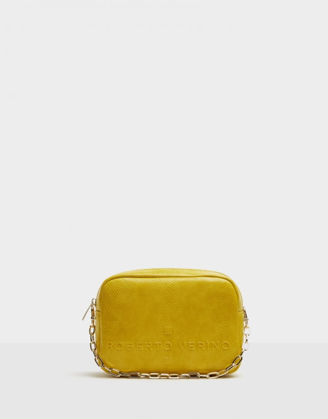 Mustard embossed snakeskin Bazin shoulder bag