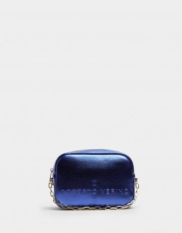 Bolso bandolera Bazin brillo azul