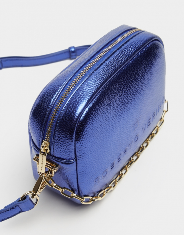 Blue grainy leather Bazin shoulder bag