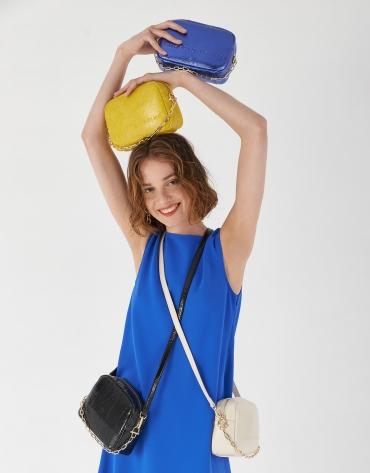 Blue grainy Bazin shoulder bag
