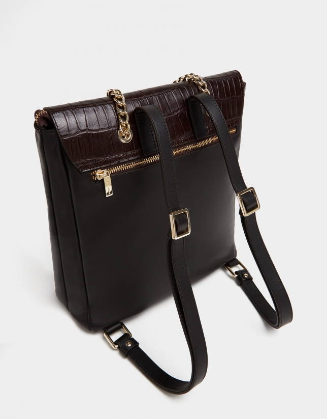 Brown nappa Valentina backpack