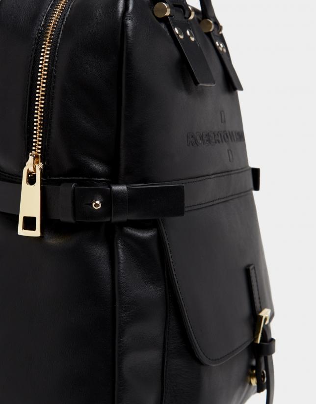 Black leather Charlotte backpack