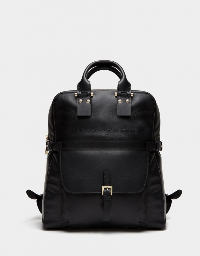 Black leather Charlotte backpack