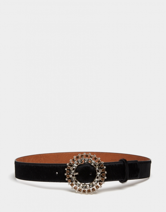 Black leather belt with bejewelled buckle