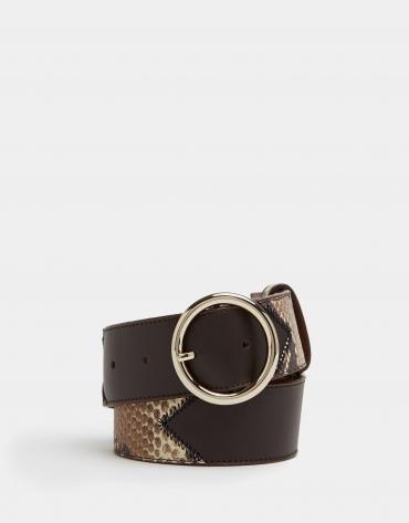 Cinturón piel combinada serpiente marrón