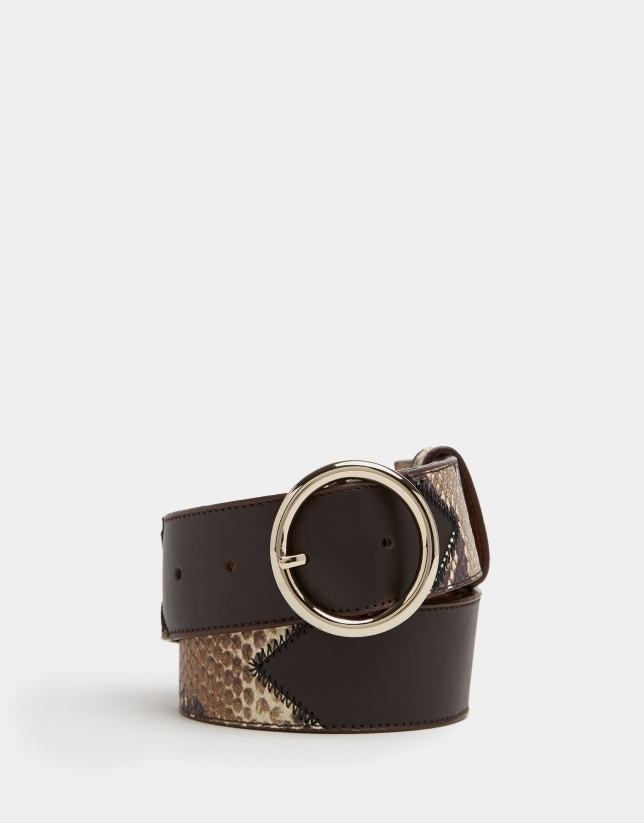 Combination black alligator and leather belt