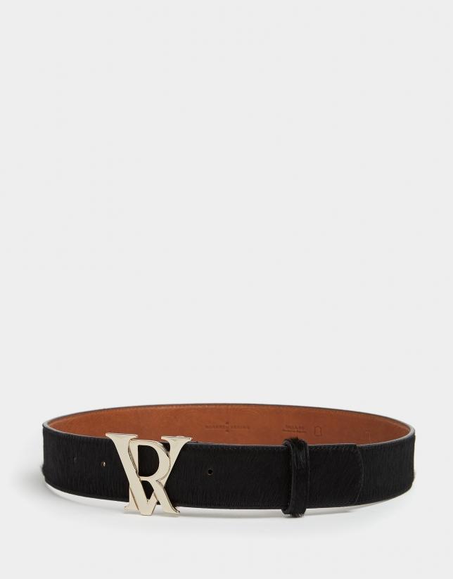 Cinturón pelo negro hebilla RV
