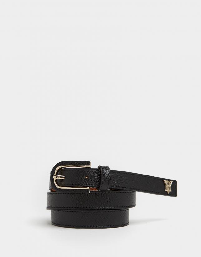 Cinturón piel hebilla forrada negro