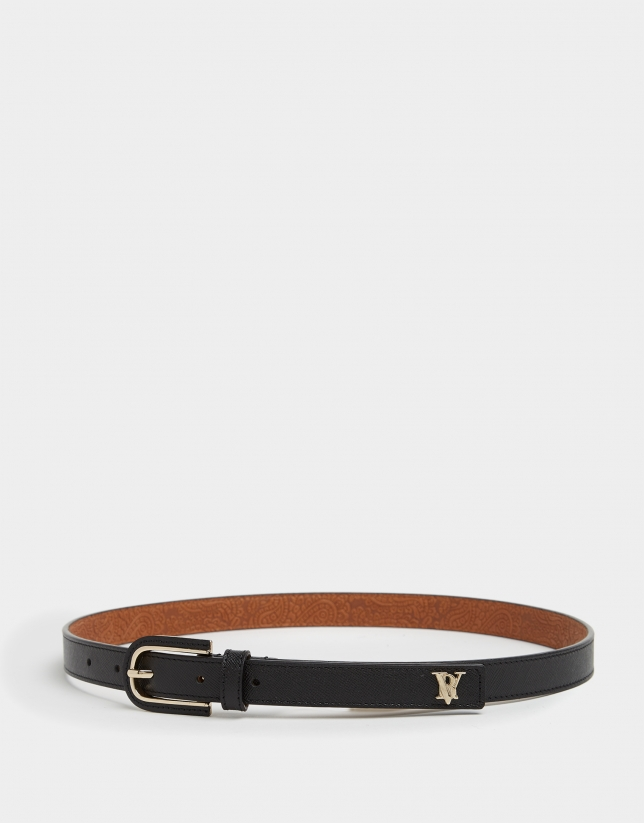 Black leather belt with covered buckle