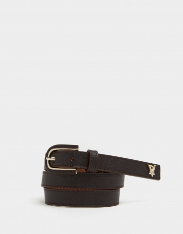 Brown leather belt with covered buckle