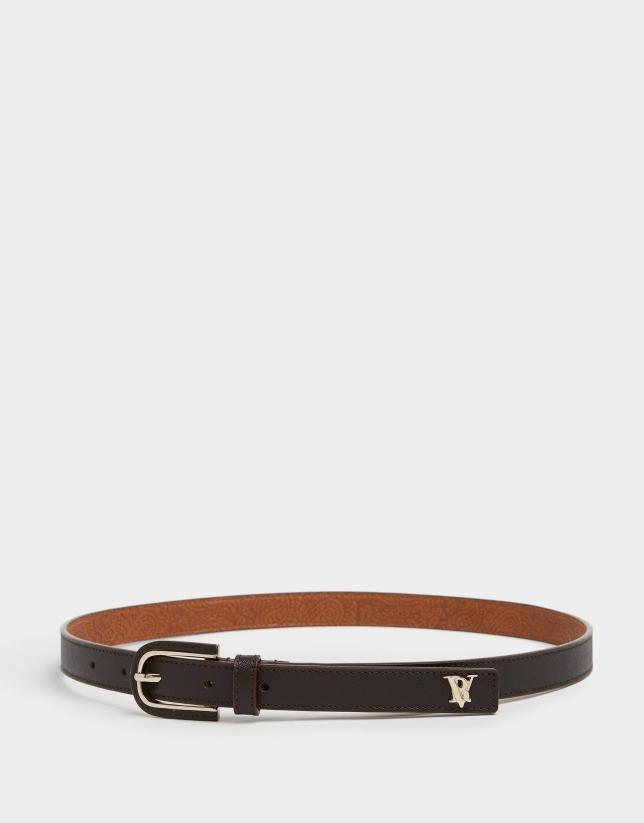 Cinturón piel hebilla forrada marrón