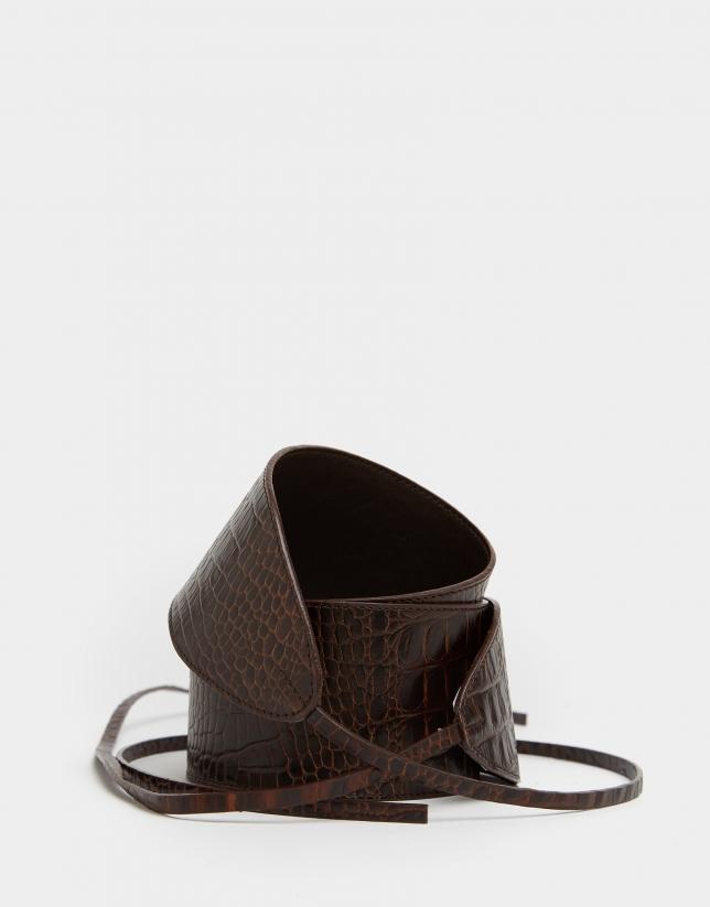 Brown leather cocoanut sash belt
