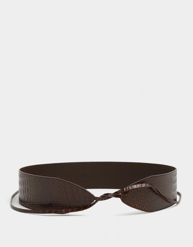 Cinturón fajín piel coco marrón