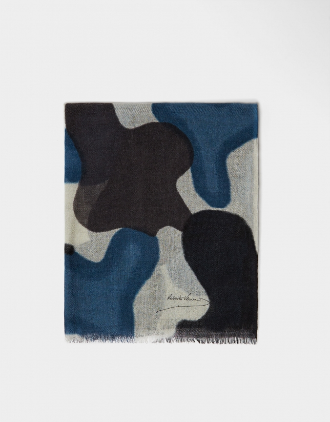 Blue and brown print wool foulard