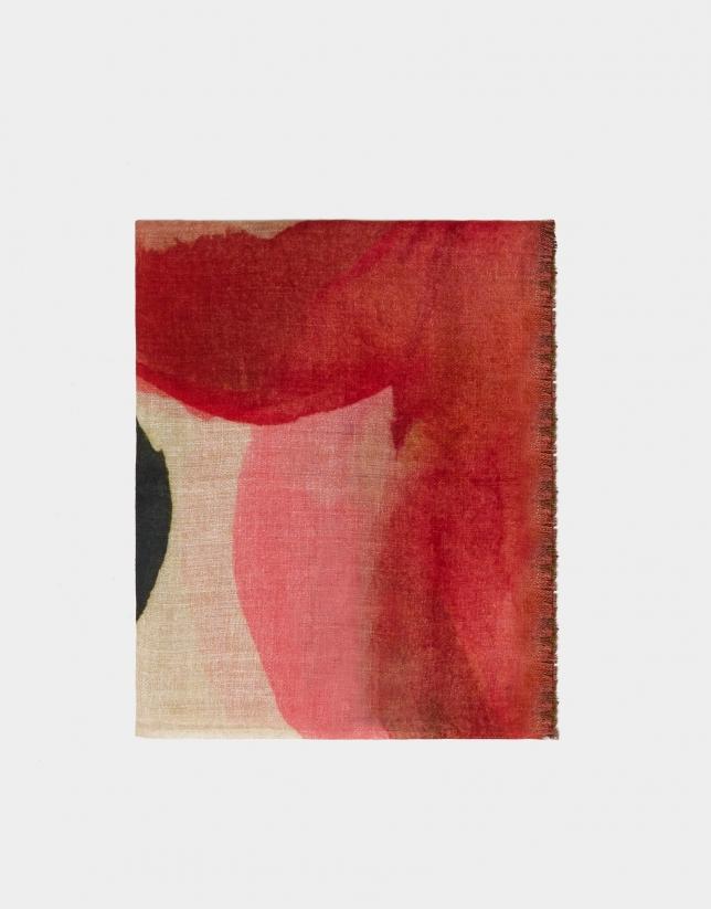 Fular print plantas rosa/verde