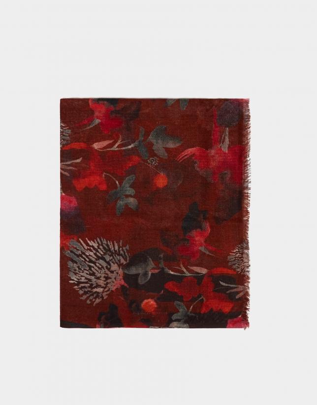 Fular print tonos rojos
