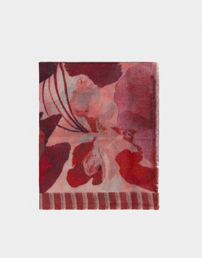 Pink floral print foulard