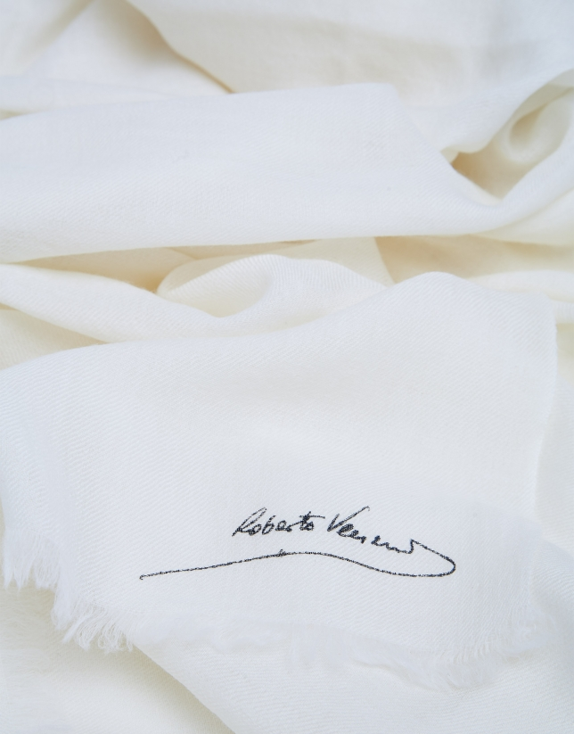 Plain beige foulard with fringe