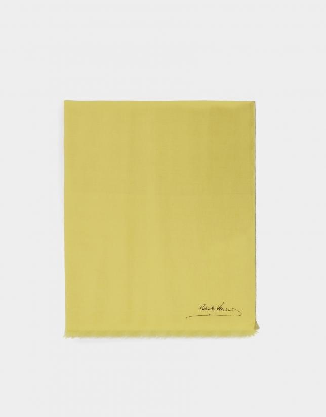 Plain mustard foulard with fringe