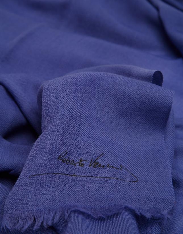 Fular liso flecos azul