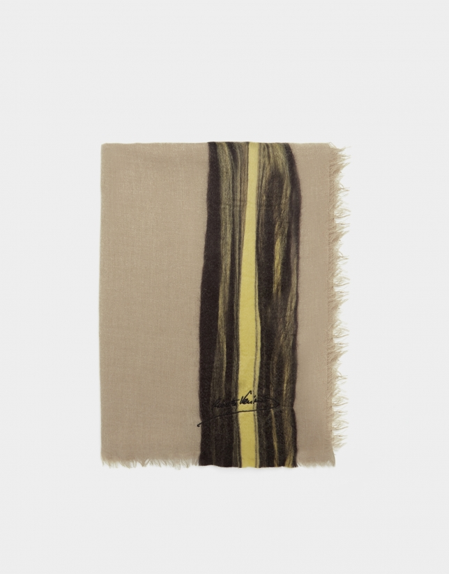"Beige embroidered ""needle punch"" foulard"