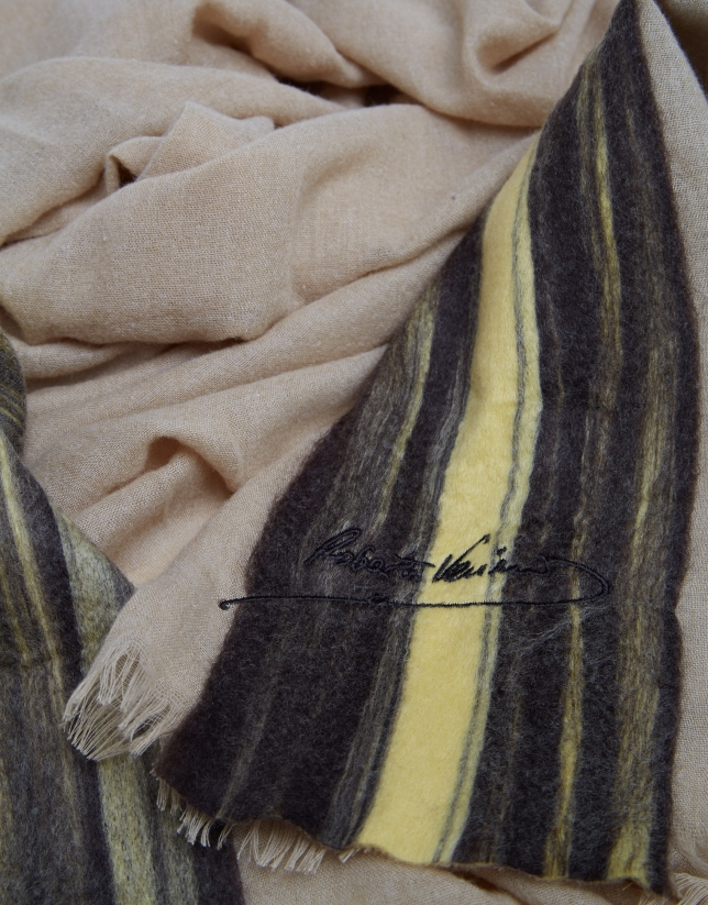 """Beige embroidered """"needle punch"""" foulard"""