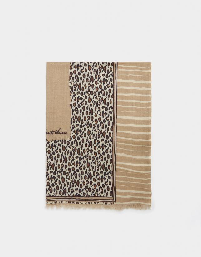 Fular print leopardo beige