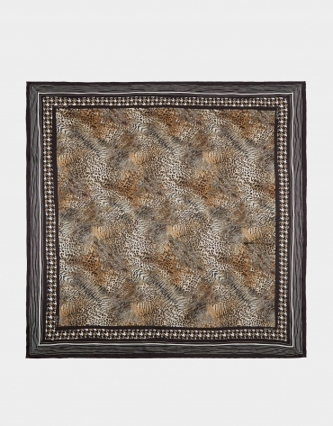Brown animal print silk scarf