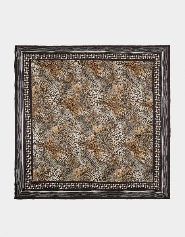 Brown animal print silk scarf