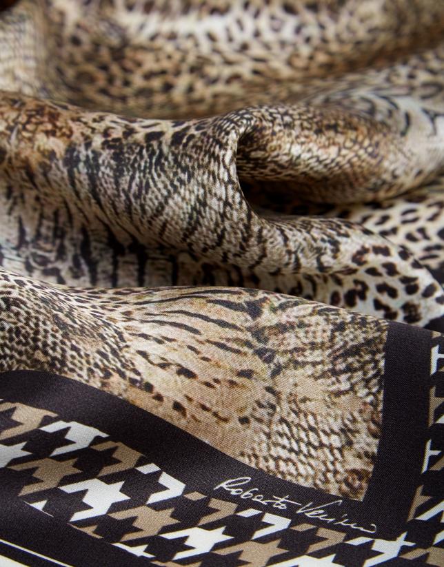 Pañuelo seda print animal contorno marrón
