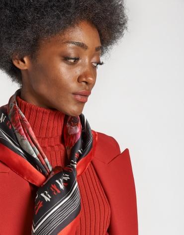 Red floral print silk scarf